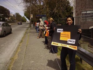 A human chain was created around the YWCA East Fir site.