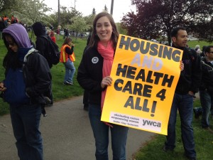 Devin Seman, of the YWCA Health Access Department, at Judkins Park.