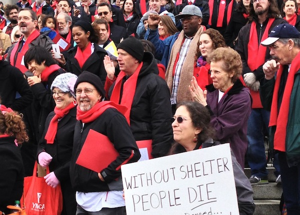 The Washington Low Income Housing Alliance's new Emerging Advocates Program builds on the organization's strong history of supporting housing advocacy. In this photo, advocates rally at the state capitol at the Housing Alliance's Housing and Homelessness Advocacy Day on Feb. 11, 2013. Image credit: Washington Low Income Housing Alliance