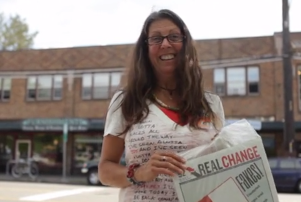 """Susan Russell is a Real Change vendor and member of the Homeless Speakers Bureau. Image credit: Still capture from <a title=""""A Storytelling Project: Susan Russell on Vimeo"""" href=""""http://vimeo.com/92685423"""">video byAnissa Amalia</a>."""
