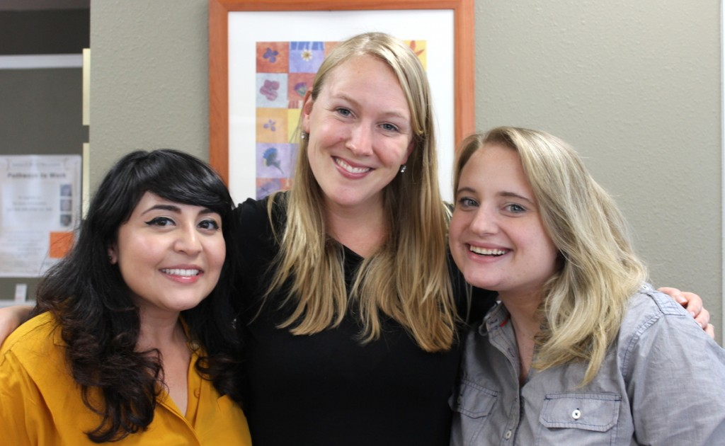 Firesteel advocacy coordinator Denise with StoryCorps facilitators Mayra and Jill.