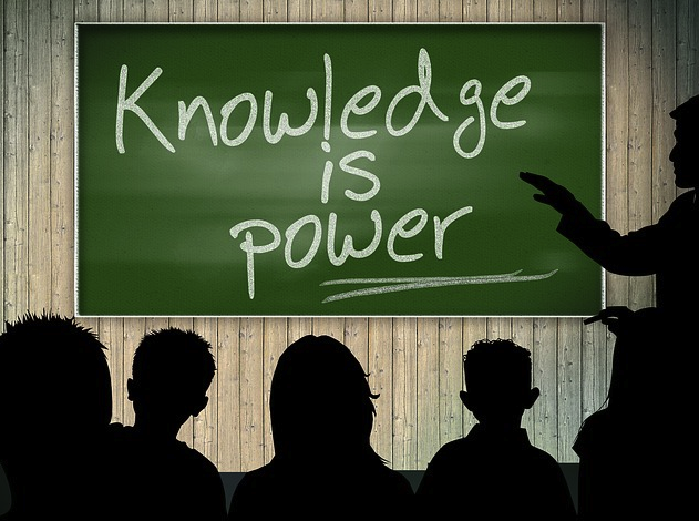 Image knowledge is power written on chalkboard