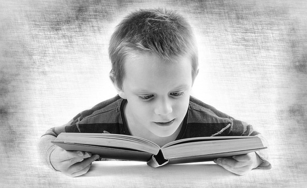 Boy with book photo