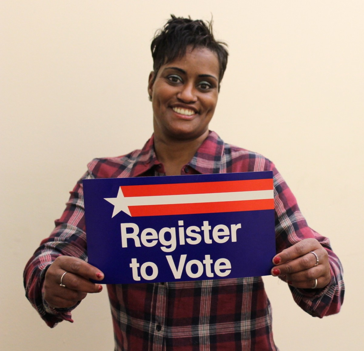 Lakesha has helped more than 50 people register to vote this month. Image credit: Denise Miller.