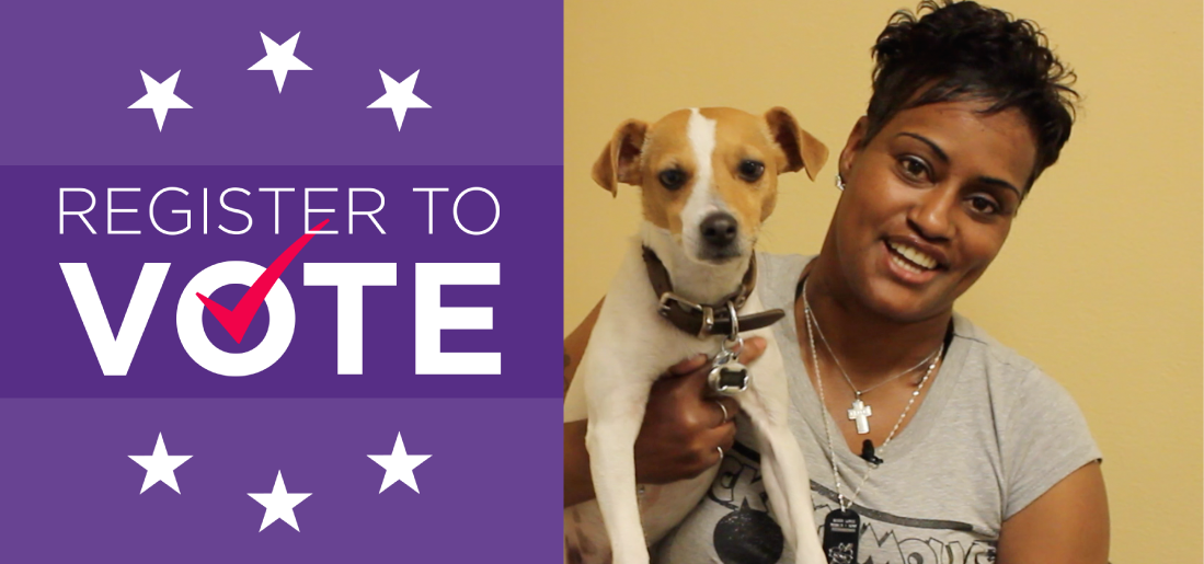 Lakesha and her dog Roxy live at the YWCA. They made a video to encourage Firesteel readers to register to vote.