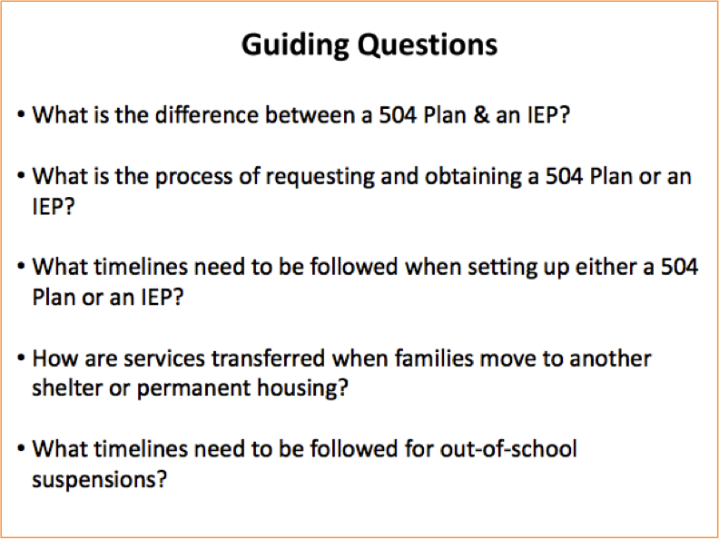 Guiding questions slide from presentation by Scott Raub