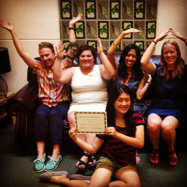 It's fun to intern with the Y-W-C-A! GirlsFirst summer intern Leyi Lei (front) strikes a pose with members of YWCA Seattle | King | Snohomish's Community Engagement team. As part of her internship, Leyi wrote today's blog post about the importance of voting. Photo credit: Katie Barnett.