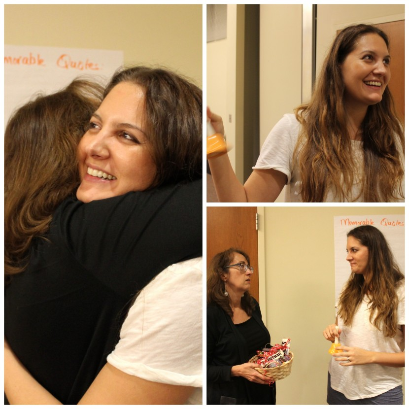 We invited listeners to ring a bell when they came upon a particularly difficult section of the interview. Bell ringer (and Firesteel director) Erin Murphy received a delivery of chocolate and hugs from Catherine Hinrichsen.