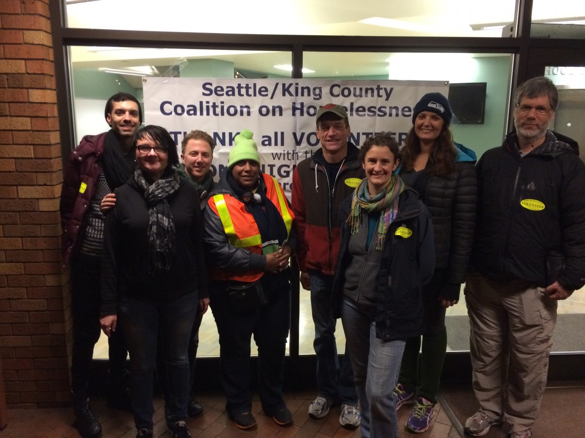 YWCA Seattle I King I Snohomish staff were joined by representatives from the Gates Foundation and Mayor Murray's office for the Jan. 22 One Night Count. Photo courtesy Erin Murphy.