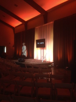 Caption: Gretchen Waschke prepares to tell her story during The Moth soundcheck at the Fremont Abbey. Photo by Paige McAdam.