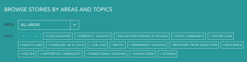 Stories on the Firesteel site are organized by specific areas and topics for easy navigation. These tags can help you choose a story that best fits your advocacy outreach.