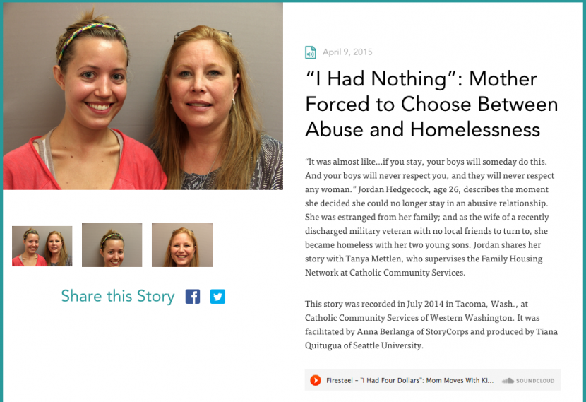 This story is an example of how compassion and awareness can be created by giving a face to the issues of domestic violence and family homelessness.