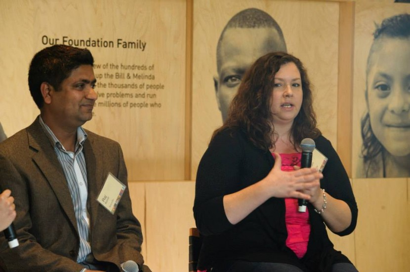 Raj Kumar and Alena Rogers talk about their experiences participating in the Landlord Liaison Project. They were interviewed by Eve Claxton from StoryCorps at a special event co-hosted by KUOW and the Bill & Melinda Gates Foundation Visitor Center. Image by Steve Schimmelman of Sun Photography via Seattle University's Project on Family Homelessness.