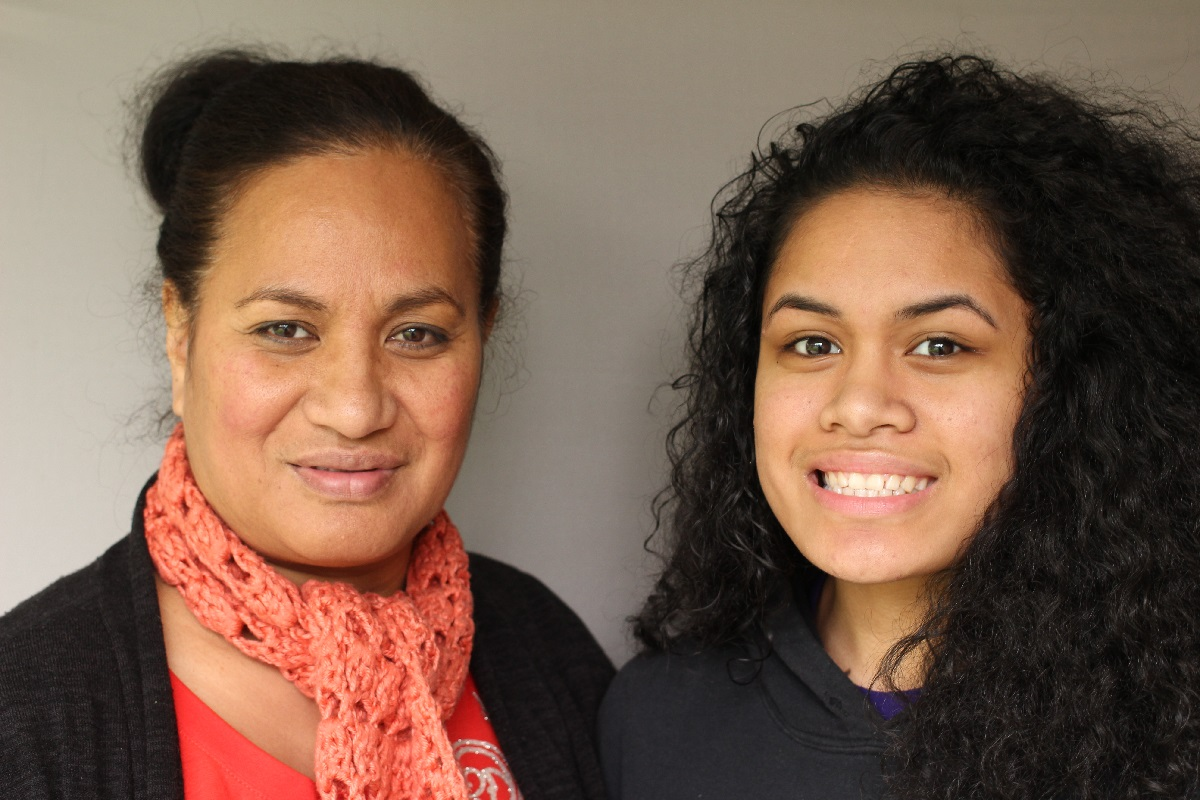 "High school student Lika (right) told teacher Lynette Finau what it's like to attend school while living in a shelter in a StoryCorps ""Finding Our Way"" conversation. Image credit: StoryCorps"