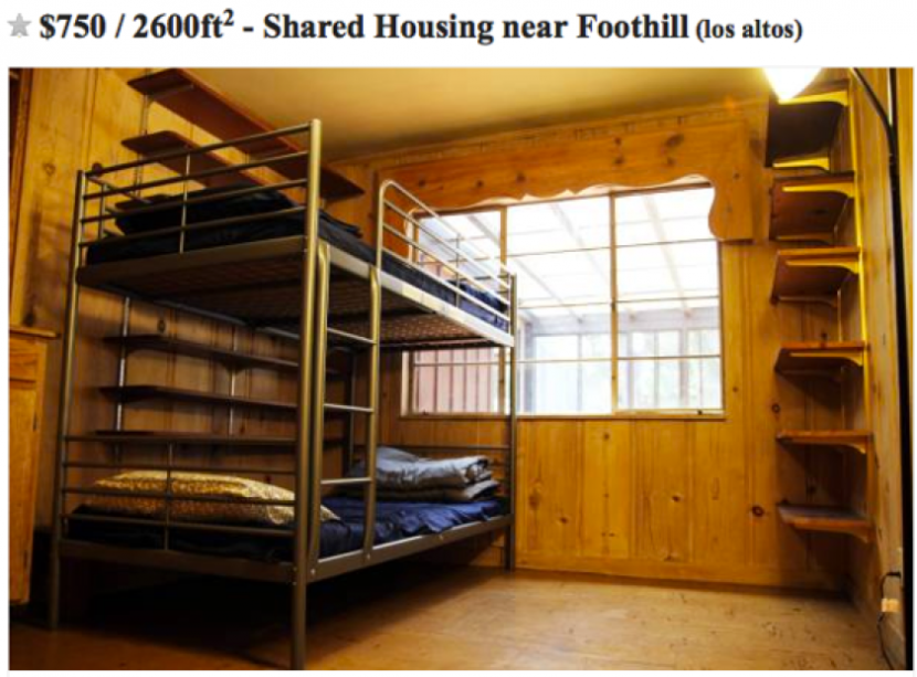 A typical room share listing, where residents pay per bed. If this situation is anything like mine, renters should be wary of trusting a single photo and should prepare for extra mattresses on the floor, too. Photo by Sfbay.Craigslist
