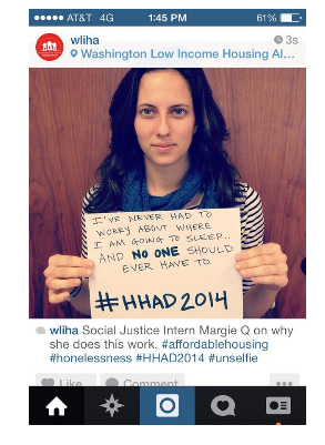 "Housing Alliance intern Margie Quinn in 2014 posted this ""unselfie"" on Instagram, and partners shared it on Facebook and other platforms."