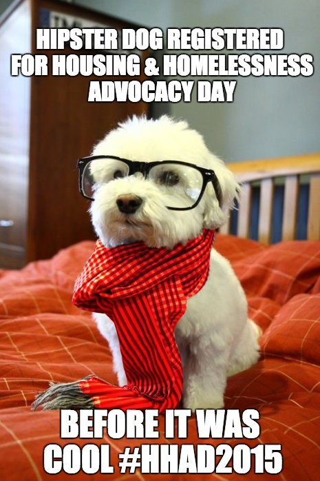 """Hipster Dog"" was a popular meme; our WLIHA friend Joaquin Uy customized it for HHAD, with an assist from McKenna Haley, who added the signature red to the scarf."