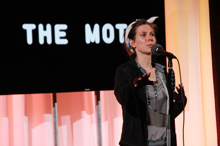 Launa Lea tells her riveting story of homelessness at our community showcase with The Moth, which later aired on The Moth Radio Hour. Photo by Christan Leonard courtesy of The Moth.