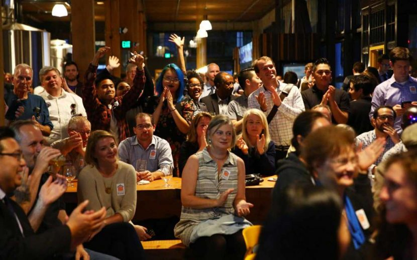 Advocates celebrate the Seattle Housing Levy's big victory. Photo by Genna Martin for seattlepi.com.
